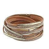JAOYU Bracelet en cuir Femmes Strass Breloques Bracelets pour les filles Bracelet Bijoux faits à la main - maman, soeur, fille cadeaux