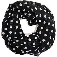 ManuMar Loop-Schal für Damen   feines Hals-Tuch mit Punkte Pünktchen Kreise-Motiv   Schlauch-Schal - Das ideale Geschenk für Frauen