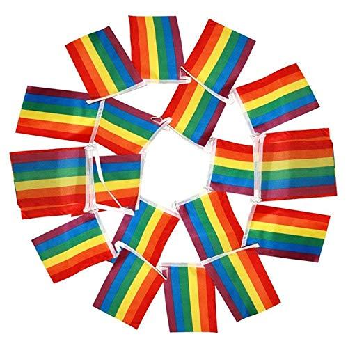 20 Pack Regenbogen Stolz Flagge, Mini Regenbogenfahnen Lesben Frieden LGBT Regenbogenfahne Banner für Festival Karneval Praktisch