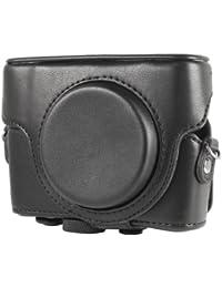 Sac étui en simili cuir pour appareil photo Sony Cybershot RX100 noir avec une bandoulière LF193B