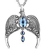 Lovelegis - Collar Horcrux - Mago Harry - Aquila - Piedras Azules - Color Plata - Idea Regalo - Mujer - Niña