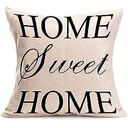 "1pieza almohada Lino Algodón ""Home Sweet Home Almohada hogar decoración 45cm * 45cm Beige"