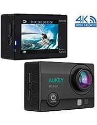 AUKEY Caméra Sport 4K Ultra HD Wifi Action Cam Etanche avec deux Batteries Rechargeables, 2,4GHz Télécommande, 170° Grand Angle pour Vélo, Skier, Plonger