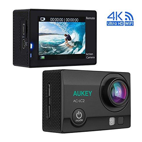AUKEY Action Cam 4K Ultra HD, WiFi e 2.4 GHz Telecomando, Impermeabile, Grandangolo 170°, con Due Batterie e Kit Accessori