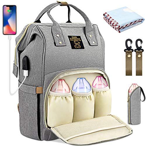 OUSI Baby Wickelrucksack Wickeltasche, multifunktionale wasserdichte Babytasche für Mama und Papa, Oxford Windelrucksack mit USB-Ladeanschluss, Kinderwagengurte, Wärmetaschen und Kindertuch - grau - Netzkabel Reißverschluss