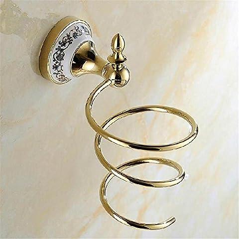 Modylee Oro a parete Asciugacapelli Rack Bagno Accessori Storage mensola dei capelli Titolare asciugatrice non includere asciugatrice