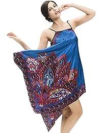 NiSeng mujer pijamas satín verano camisón vestido de noche