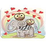 Carpet Rug Door Mat Cute Cartoon Elephant Two Owls Rainbow Background Fashion 16 * 24 Inch