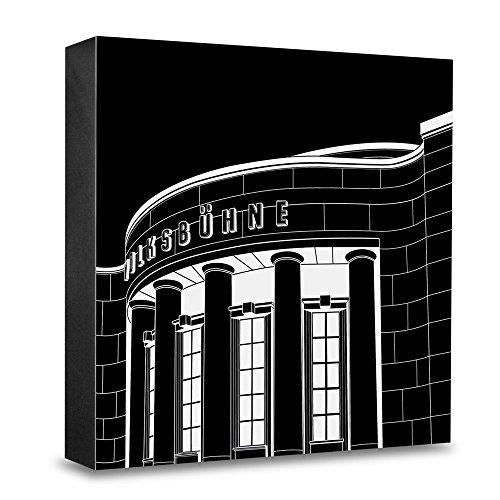 COGNOSCO HG-SG08 Foto-Holzblock medium-15 x 15 cm-Stadtgrafiken-Wandbild Internationale Architektur-Berlin, Volksbühne, Holz, Schwarz-Weiß, 15x15cm