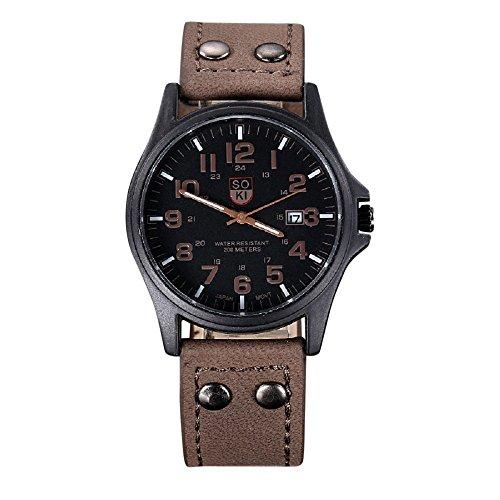 Valentinstag Uhren Dellin Vintage Classic Herren wasserdicht Datum Lederband Sport Quarz Army Watch (braun)