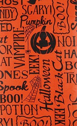 Halloween Scary Wörter und Sätze Vinyl Tischdecke Flanell Rückseite, Vinyl, Orange, 52 Inches X 52 Inches Square