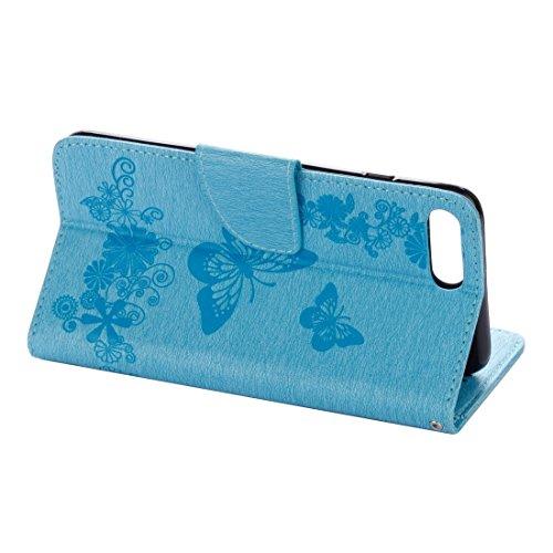 iPhone Case Cover Pour iPhone 7 Plus Papillons Embossing Horizontale Flip étui en cuir avec porte-cartes & Slots & Portefeuille & Lanyard ( Color : Blue ) Blue