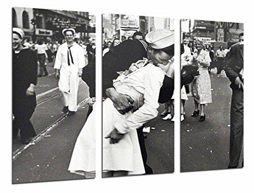 Cuadro Fotográfico Beso, Enfermera y Marinero, Blanco y Negro, Vintage Tamaño total: 97 x 62 cm XXL