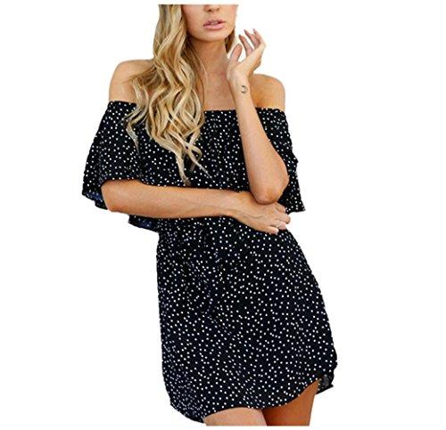 Bekleidung Longra Sommerkleid Damen Frauen weg von der Schulter-Sleeveless Punkt Strand Minikleid Dame Abend-Partei-Kleid (Asian M, Black) (Blazer Strand)