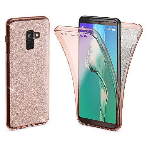 8a8b19bb485 NALIA Glitter 360° Funda Compatible con Samsung Galaxy A8 2018, Purpurina  Carcasa Protectora Movil