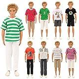 Sommer 3 Herren T-Shirt + 3 Basketball Beach Sport Mann-Sommer-Hosen-Hose für Barbie Puppen KEN Weihnachten Xmas Geschenke