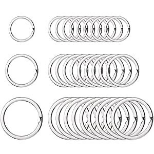 Round Flat Key Chain Rings Metal Split Ring for Home Car Keys Organization, 3/4 Inch, 1 Inch and 1.25 Inch, 30 Pieces, Silver