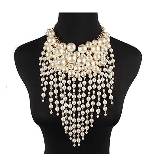 Selia Übertriebene Pearl Tassel Halskette Multi-Layer Clothing Match Damen und Mädchen Fashion Temperament Statement Accessoires,White