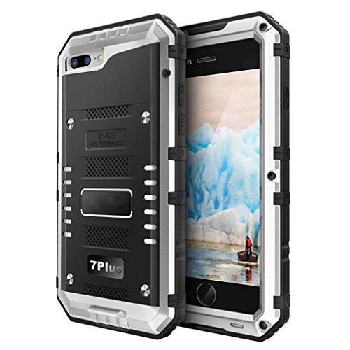 Culater® Case Cover pellicola metallica IP68 alluminio vetro sommergibile per Iphone 7 Plus 5.5inch (argento)