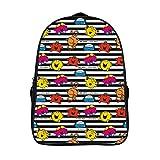XIAHAILE School Backpack for Girls, Lightweight Campus Book Bag Laptop Backpack Teen Schoolbag 16inch,Mr Men Little Miss Stripes Pattern