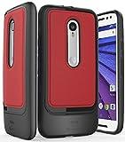VENA Motorola Moto G (3. Generation) Hülle Schutzhülle [vSkin SL] [Leder] Slim Brieftasche Case Hülle mit Bargeld & Kartenfächer Cover für Motorola Moto G3 (Schwarz/Rot)