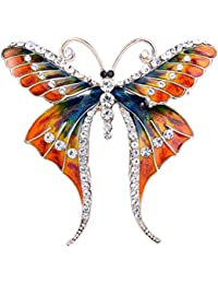 EVER FAITH® Femme Cristal Autrichien Email Chic Papillon Insecte Animal Broche Pin Ton Or