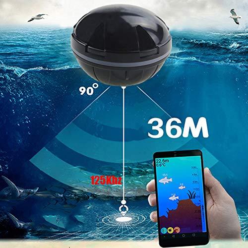 Buscador De Peces Portátil Bluetooth Wireless Echo Sonda Sonda Sonar Sensor Profundidad Buscador De Peces para La Pesca En El Mar del Lago,Black