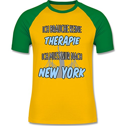 Städte - Ich brauche keine Therapie ich muss nur nach New York - zweifarbiges Baseballshirt für Männer Gelb/Grün