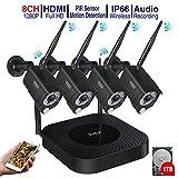 Sistema di telecamere di sicurezza wireless Full HD 1080p Tonton, registratore NVR 8T, disco rigido da 1TB e impermeabile da 4PCS 2.0 MP, con registrazione e avviso di allarme sensore PIR