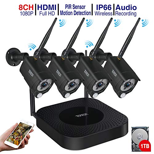 (Audio+PIR) Tonton 1080P Full HD 8CH WLAN Überwachungskamera Set mit 1TB Festplatte 4 Außen HD 1080P Funk IP Überwachungskamera, 20M IR Nachtsicht Kompatibel mit Smartphones,Tablets, Windows PC Windows-smartphone