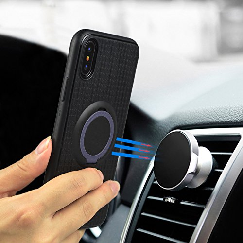 iPhone X Hülle, Einfach Schwarz Einfarbig Muster Design Handycover für Apple iPhone X/iPhone 10 5.8 Zoll, Ultra Dünn TPU Weich Silikon Handy Hülle Handycover Schale Schutzhülle mit Standfunktion Ultra Schatz blau
