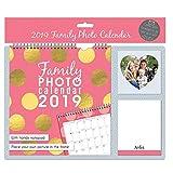 Tallon 2019Photo de famille Calendrier avec photo et carnet de notes de poche–Rose avec pois dorés