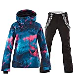 Damen 2 Teilig Skianzug Wasserdicht Schneeanzug Jacke und Hosen Skiset...