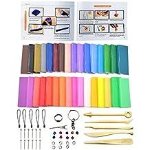 Arcilla de polímero, bloques de 32 bloques de horno al horno de modelado de arcilla, iFergoo bricolaje de color arcilla kit con herramientas de modelado, tutoriales y accesorios, 1.73 libras