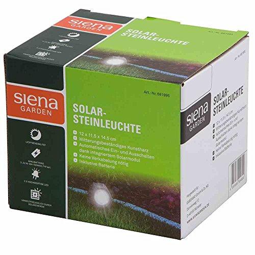 Siena Garden Steinleuchte, Solar, Gartenleuchte, Wegleuchte, schwarz, 681995