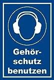 Melis Folienwerkstatt Aufkleber - Gebots-zeichen - Gehör-schutz benutzen - entspr. DIN ISO 7010/ASR A1.3 – 15x10cm – S00361-006-E +++ in 20 Varianten erhältlich