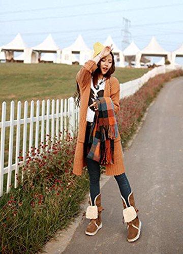 CHAOYANGStrap fond plat chaussures de neige en peluche chaussures étudiants grands chantiers doux automne et l'hiver des bottes frottent les chaussures bottes de neige Yellow