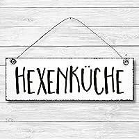 Hexenküche - Dekoschild Türschild Wandschild aus Holz 10x30cm - Holzdeko Holzbild Deko Schild zur Dekoration Zuhause im Büro auch perfekt als Geschenk Mitbringsel zum Geburtstag Hochzeit Weihnachten für Familie Freundin Mutter Schwester Tochter