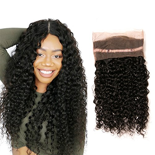 360 Frontal Lace 16 Closure 1 Piece Brazilian Hair Products Pre Plucked Free Part With Baby Hair Extensions Human Hair (16(360)) -