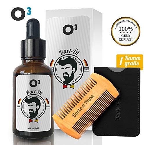 O³ Bartwuchsmittel Männer // Bartpflege 100% pflanzlich // Verschnellert das Wachstum // Bändigt,...
