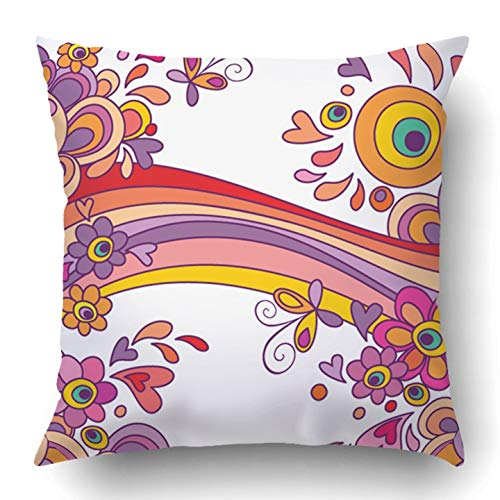 a3f29c4046467 VANESSA Throw Pillow Covers Flower Happy Holiday Power Love Childish Doodle  Bright Birthday Summer Polyester Square