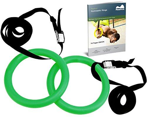 reehut-Anillas de gimnasia con correas ajustables, hebillas de metal & eBook-Gimnasio en casa (Juego de 2)-antideslizante-ideal para entrenamiento, entrenamiento de fuerza, Fitness, Pull Ups y caídas, Verde (Fruit green)