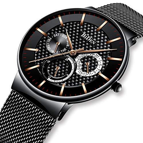 Relojes para Hombres Reloj de Malla Impermeable Azul Hombre Relojes de Acero Inoxidable Diseñador Simple de Lujo Día Fecha Calendario Clásico de Negocios Reloj de Cuarzo Analógico con Sub Diales