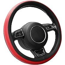 SEG Direct Cubierta del Volante de Cuero del Microfibra lo de Rojo 35.5-36 cm