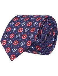 OTTO KERN Schmale Krawatte Seidenkrawatte Navy Blau - Rote & Blaue Blümchen