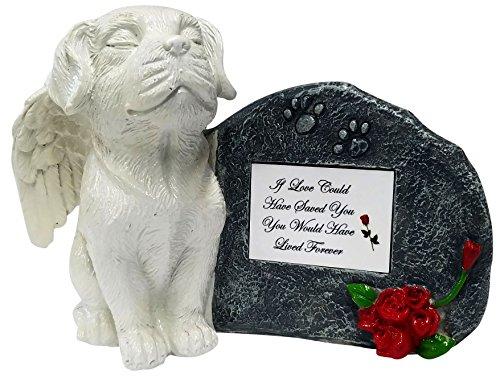 Impressum Plus Weiß Engel Gedenk-Statue Hund mit Tribute Teller und Andenken Box für Asche von, If Love Could, White Plate
