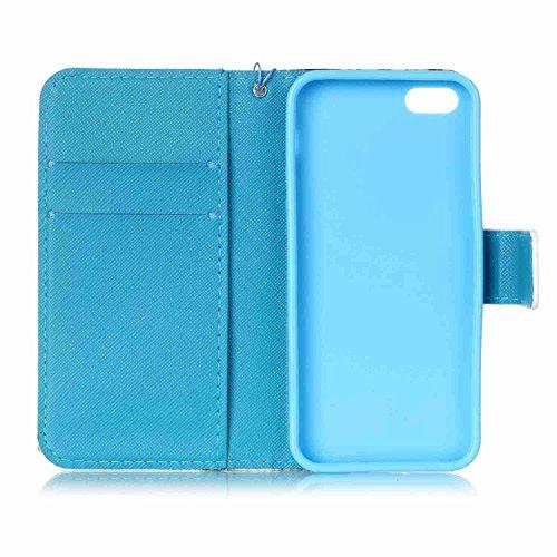 Owbb Fille dansante PU cuir Housse de protection coque pour iPhone 5 / 5S / 5G / SE étui cover case Color 10