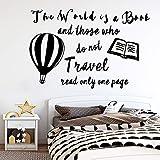 YuanMinglu Cartoon Ballon Reise Zitat Aufkleber bewegliches wandbild Poster für hauptdekoration Wohnzimmer Schlafzimmer wandaufkleber tapete schwarz L 43 cm X 65 cm