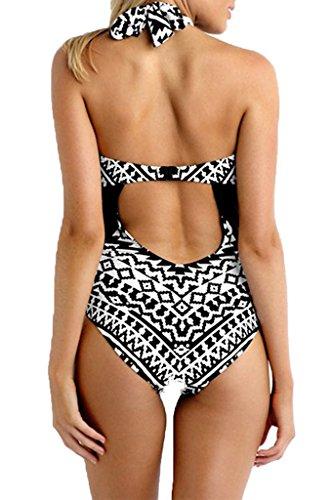 Labelar Damen Schwimmenanzug Monokini Tankini Badeanzug Neckholder Sexy Elegant Figurformend Swimsuit Schwarz