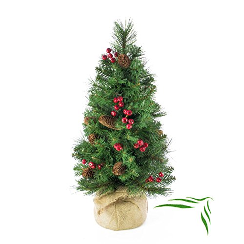 artplants Künstlicher Weihnachtsbaum BUKAREST, geschmückt, 80 Zweige, 60 cm, Ø 35 cm - Kunst Tannenbaum/Deko Christbaum